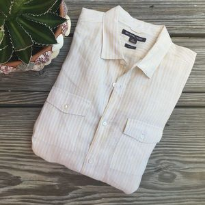 Michael Kors Pale Yellow Striped Button Down